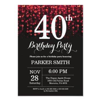 40th Birthday Invitation Red Glitter
