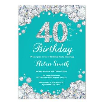 40th Birthday Invitation Teal and Silver Diamond