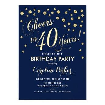 40th Birthday Party Invitation - Gold Navy