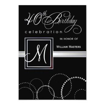 40th Birthday Party Invitation - with Monogram