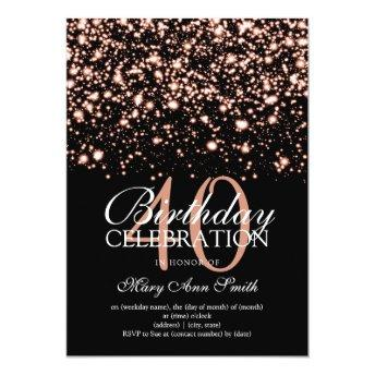 40th Birthday Party Rose Gold Midnight Glam Invitation