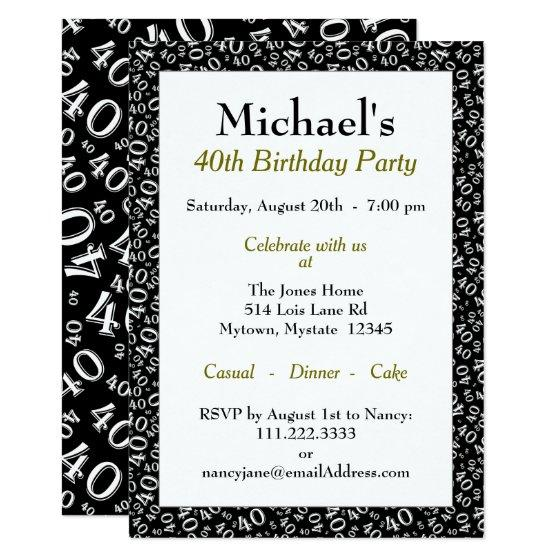 190 40th Birthday Party Theme Black And White Pattern Invitation
