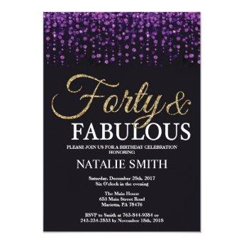 40th Birthday Purple and Gold Glitter Invitation