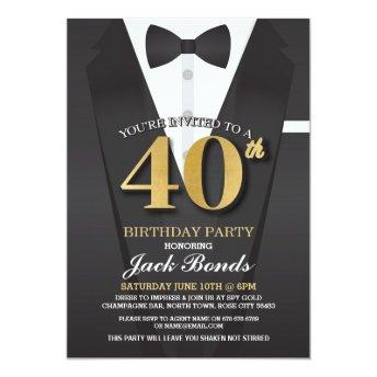 40th Birthday Spy Suit Black tie Gold Invitation