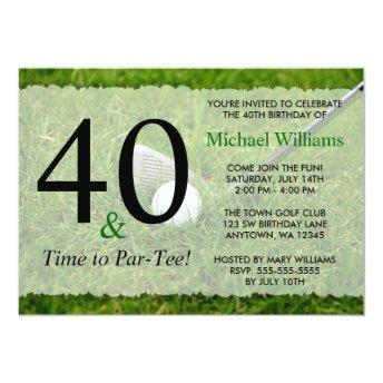 40th Golf Birthday Party Invitation