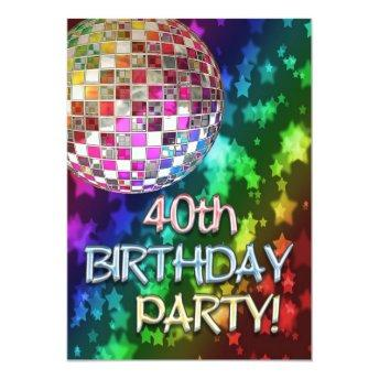 40th  with disco ball and rainbow stars