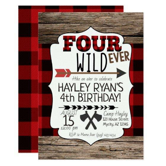 205 4th Birthday Boys Forever Wild Lumberjack Theme Invitation