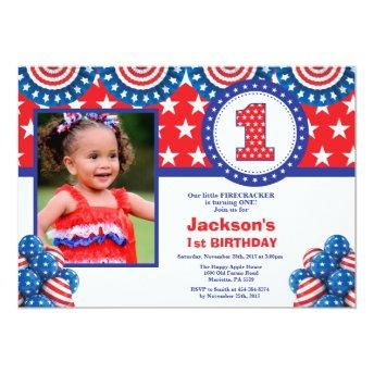 4th of July 1st First Birthday Invitation