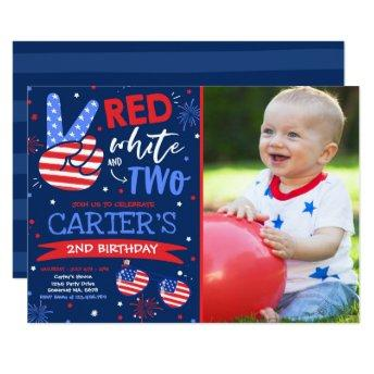 4th Of July Red White And Blue 2nd Birthday Invitation