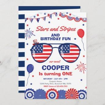 4th Of July Stars And Stripes 1st Birthday Invitation