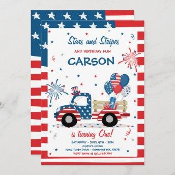 4th Of July Stars Stripes And Birthday Fun Invitation