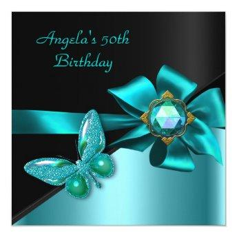 50 50th Birthday Party Teal Blue Butterfly