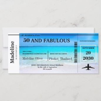 50 and Fabulous Boarding Pass Destination Birthday