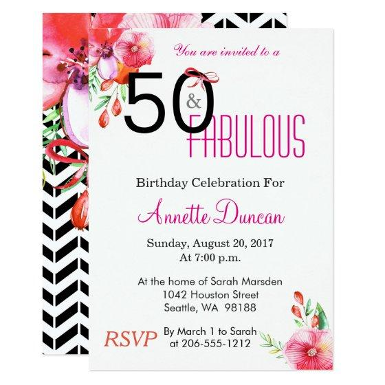 50 and fabulous floral 50th birthday party invitations 201 50 and fabulous floral 50th filmwisefo