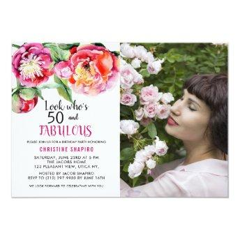 50 Fabulous Floral Photo Birthday Party Invitation