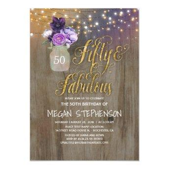 50 Rustic Birthday - Purple Flowers Mason Jar Gold Invitation