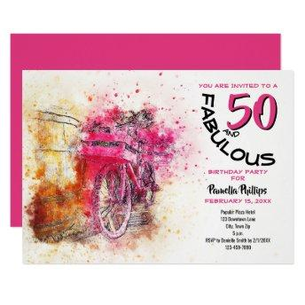 50 Year-Old Birthday Party | Bicycle Watercolor