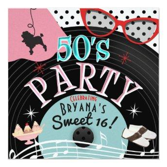 50's 1950's Record Theme Party Invitation