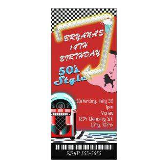50's 1950's Style Theme Birthday Party Ticket
