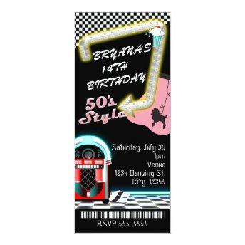 50's 1950's Style Theme Birthday Party Ticket Invitation