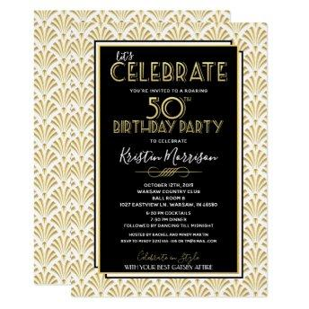 50th Birthday Art Deco Gatsby Roaring 20s Birthday Invitation