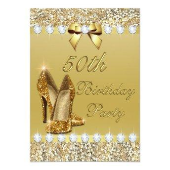 50th Birthday Classy Gold Heels Sequins Diamonds Invitation