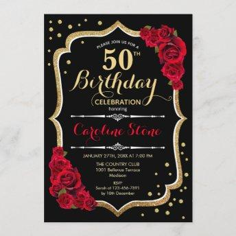 50th Birthday - Gold Black Red Roses Invitation