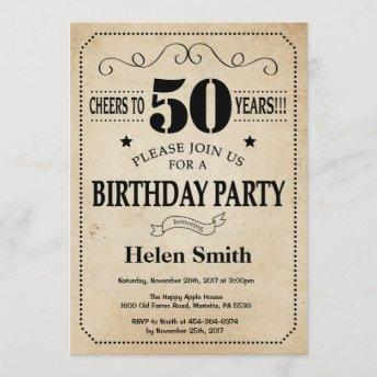 50th Birthday Invitation Rustic Vintage Retro