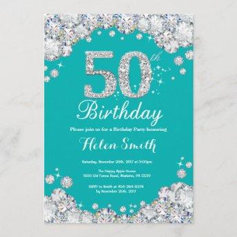 50th Birthday Invitation Teal and Silver Diamond
