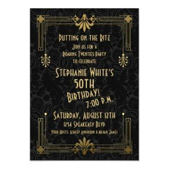 50th Birthday Invite Roaring 20s Twenties Art Deco