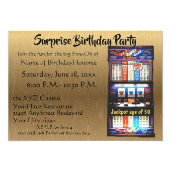 50th Birthday Party Casino Slot Machine Gold Invitation
