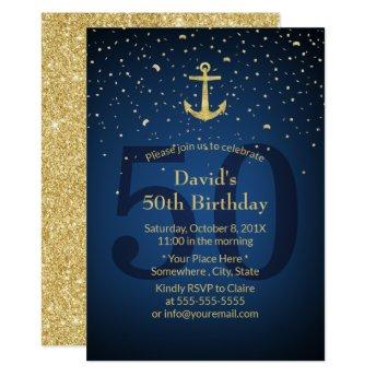 50th Birthday Party Navy Blue Nautical Gold Anchor Invitation