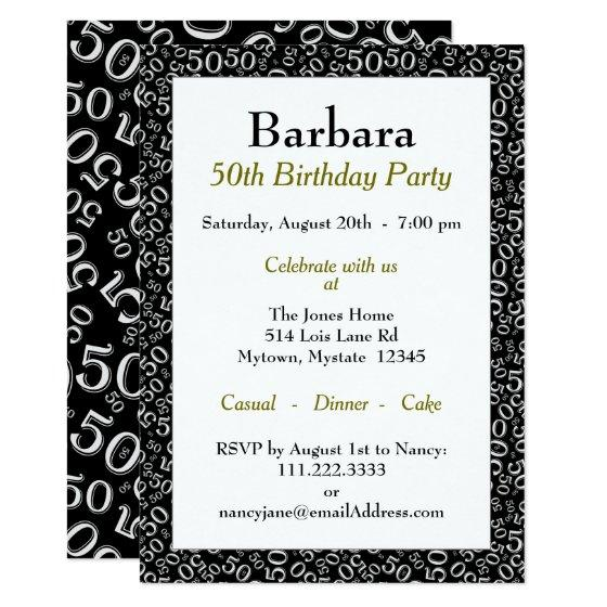 190 50th Birthday Party Theme Black And White Pattern Invitation