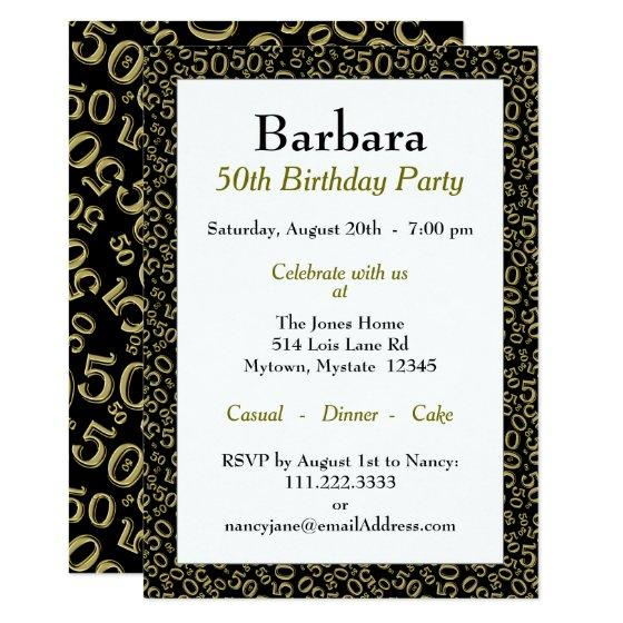 50th Birthday Party Theme - Gold and Black Pattern Invitation