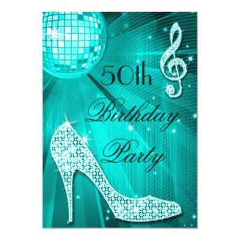 50th Birthday Sparkle Heels and Teal Disco Ball Invitation