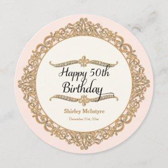 50th Happy Birthday Party Celebration Round Invite
