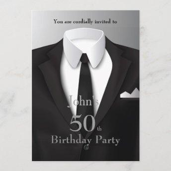 50th,Invitation Man,any age,tuxedo,suit,tie,black Invitation