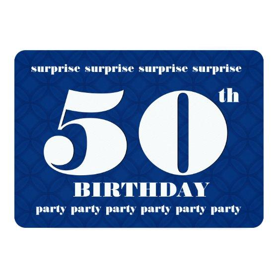 50th SURPRISE Blue and White Birthday Party v003A Invitation