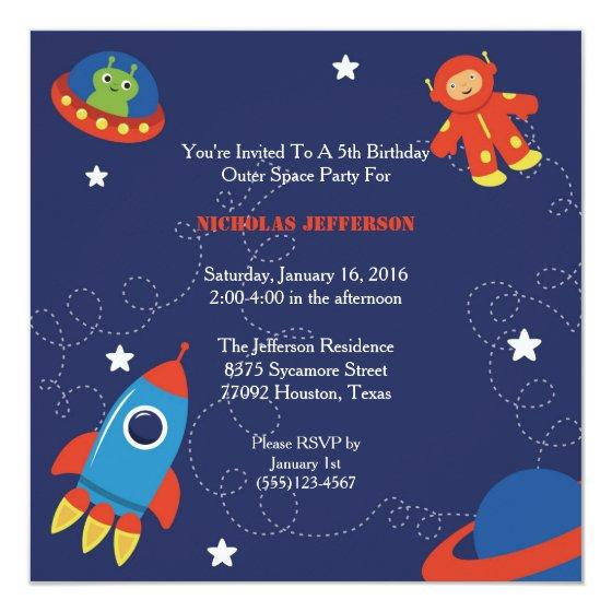 5x5 Outer Space Birthday Party Invitation Invitations