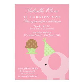 Pink Elephant Birthday Invitation