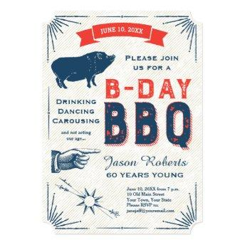 60th Birthday BBQ Party All American Vintage Invitation