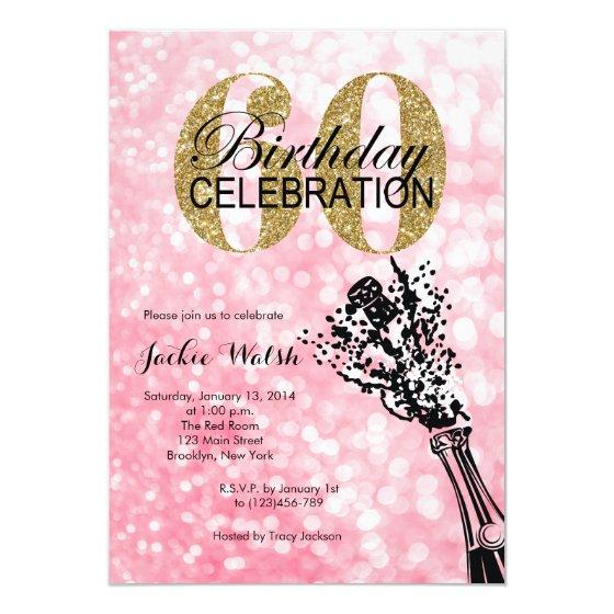 60th Birthday Champagne Party Invitation