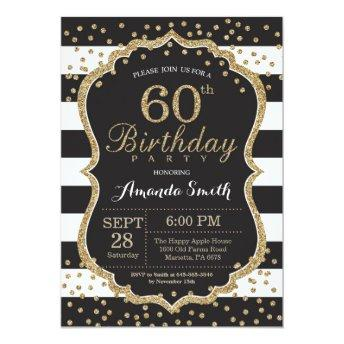 60th Birthday . Black and Gold Glitter
