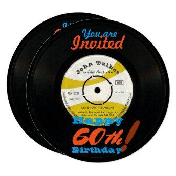 60th Birthday Invite Retro Vinyl Record 45 RPM