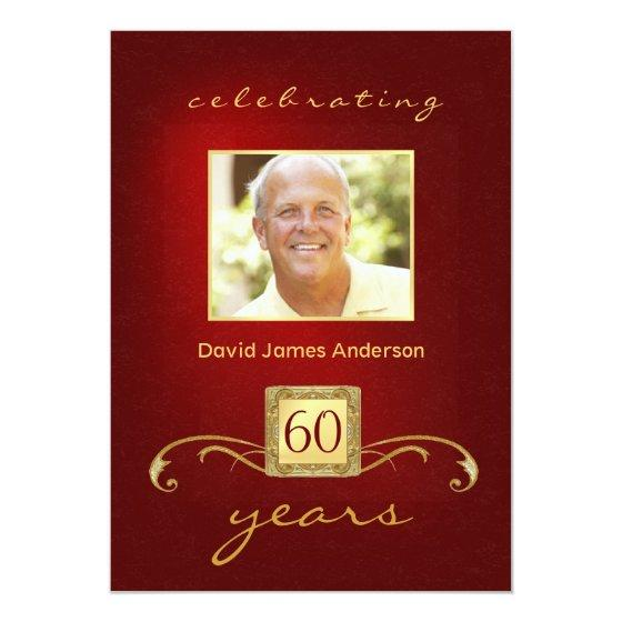60th Birthday Party Invitation Red Gold Monogram Invitation