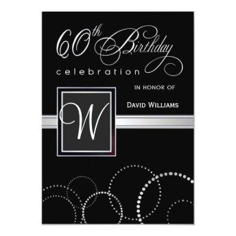 60th Birthday Party Invitation - with Monogram