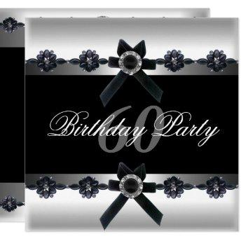 60th Birthday Party Silver Black White Diamond Invitation
