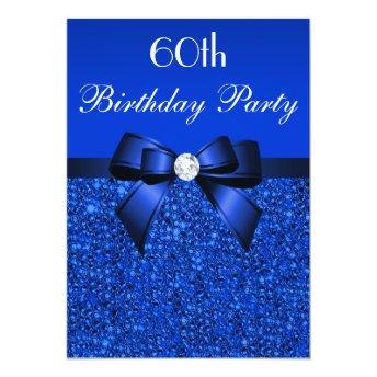 60th Birthday Royal Blue Sequins Bow and Diamond Invitation