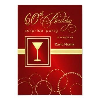 60th Birthday Surprise Party Invitation - Red