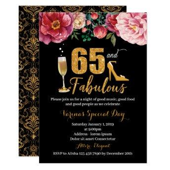 65 and Fabulous Birthday Invitation for Women